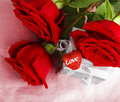 Beautiful roses with gift box & heart Royalty Free Stock Image