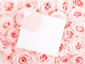 Beautiful roses with gift card & heart Royalty Free Stock Photo