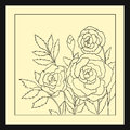 Beautiful roses isolated on light yellow background. Hand drawn vector illustration with flowers.