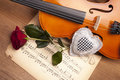 Beautiful roses and violin! Royalty Free Stock Photography