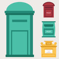 Beautiful rural curbside open and closed postal mailboxes with semaphore flag postbox vector illustration