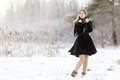 Beautiful Russian woman at winter nature Royalty Free Stock Photo