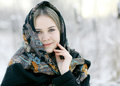 Beautiful Russian woman  at winter nature Royalty Free Stock Photo