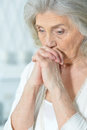 Beautiful sad elderly woman Royalty Free Stock Photo