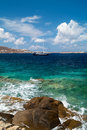 Beautiful sailboat sailing sail blue mediterranean sea mykonos near island greece Stock Images