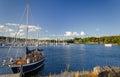 Beautiful sailboat in Swedish sea bay Royalty Free Stock Photography