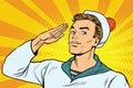 Beautiful sailor salutes, the marine profession