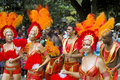 Beautiful samba dancers on carnival. Royalty Free Stock Image