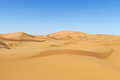 Beautiful sand desert Sahara dunes and blue sky Royalty Free Stock Photo