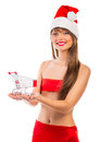 Beautiful santa christmas girl with shopping trolley small on white background Royalty Free Stock Photos