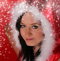 Beautiful Santa girl Stock Image