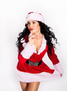 Beautiful santa girl isolated on white Royalty Free Stock Photography