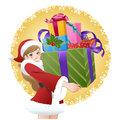 Beautiful Santa woman holding gift boxes Stock Photos