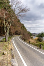Beautiful scenary of Kawaguchiko lakeside at Momiju Tunnel Royalty Free Stock Photo