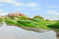 Beautiful scene of the beach on rocks background. Royalty Free Stock Photo