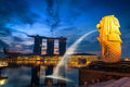 Beautiful scene on sunrise in business downtown of Singapore., Twilight scene. Royalty Free Stock Photo