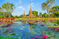 Beautiful Scenery Scenic View Ancient Buddhist Temple Ruins of Wat Sa Si in The Sukhothai Historical Park, Thailand Royalty Free Stock Photo