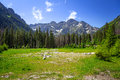 Beautiful scenery of wlosienica meadow in tatra mountain poland Stock Photography