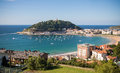 Beautiful scenic Concha Bay in summertime in Donostia - San Sebastian, Basque country, spain Royalty Free Stock Photo
