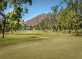 Beautiful scenic golf course in phoenix arizona usa with camelback mountain background Stock Photos