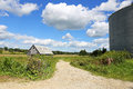 Beautiful Scenic Landscape of Old Farm Shed and Grain Storage Bi Royalty Free Stock Photo