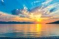 Beautiful scenic sunrise over the a quiet sea aegean Stock Photo