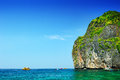 Beautiful sea with crystal clear blue waters of the andaman sea against sky at krabi bay thailand Stock Photography