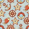 Beautiful sea seamless pattern.