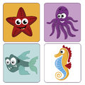 Beautiful sealife four and colorful icons of the in our planet Stock Image