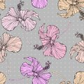 Beautiful seamless floral pattern background. Hibiscusl flowers tpastel color background. Hibiscus flower realistic