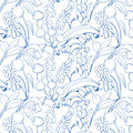 Beautiful seamless floral pattern flower vector background Stock Photos