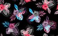 Beautiful seamless floral pattern, spring summer background with tropical flowers, palm leaves, jungle leaf, hibiscus, paradise fl