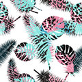 Beautiful seamless  floral summer pattern background with tropical palm leaves and animal prints.Perfect for wallpapers, web Royalty Free Stock Photo