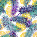 Beautiful seamless  floral summer pattern background with tropical palm leaves. Perfect for wallpapers, web page backgrounds Royalty Free Stock Photo