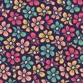 Beautiful seamless flower doodle pattern Royalty Free Stock Photo