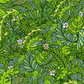 Beautiful seamless leaf pattern with branches and flowers. Vector illustration Royalty Free Stock Photo