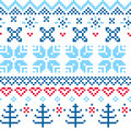 Beautiful seamless norway pattern blue and red vector illustration Stock Photo