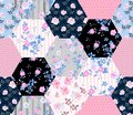 Beautiful seamless patchwork pattern with rose flowers and polka dot. Floral quilt design