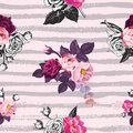 Beautiful seamless pattern with half-colored bunches of wild rose flowers against pink background with gray horizontal Royalty Free Stock Photo