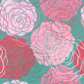 Beautiful seamless pattern with roses  in hand-drawn graphic style in vintage colors Stock Photos