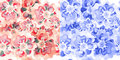Beautiful seamless pattern wallpaper background in two colors with watercolor decorative flowers Royalty Free Stock Image