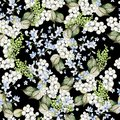Beautiful Seamless pattern with watercolor forget-me-not and snowberry.