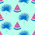 Beautiful seamless pattern with watermelon and bright blue tropical leaf