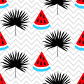 Beautiful seamless pattern with watermelon and tropical leaf silhouette on a geometric zig zag background Royalty Free Stock Photo