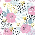 Beautiful seamless vector floral pattern background with gold hand-drawn hearts. Perfect for wallpapers, web page backgrounds, sur Royalty Free Stock Photo
