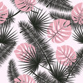Beautiful seamless vector floral summer pattern background with tropical palm leaves. Perfect for wallpapers, web page Royalty Free Stock Photo