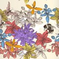 Beautiful seamless wallpaper pattern with flowers vector and butterflies Royalty Free Stock Photos