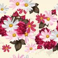 Beautiful seamless wallpaper pattern with flowers vector for design Stock Photos