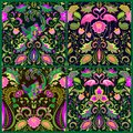 Beautiful seamless wallpapers set with exotic flowers, tropical leaves, magic bird and pink flamingo for carpet, fabric, textile, Royalty Free Stock Photo