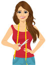 Beautiful seamstress or tailor holding a pair of scissors Royalty Free Stock Photo